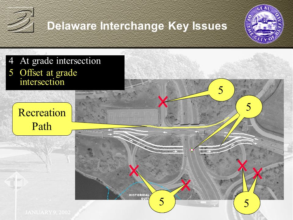 JANUARY 9, 2002 Delaware Interchange Key Issues 4At grade intersection 4 1 4 1 4 5Offset at grade intersection 55 1 5 1 5 5 Recreation Path