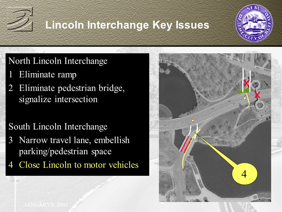 JANUARY 9, 2002 North Lincoln Interchange 1Eliminate ramp North Lincoln Interchange 1Eliminate ramp 2Eliminate pedestrian bridge, signalize intersection Lincoln Interchange Key Issues 4 North Lincoln Interchange 1Eliminate ramp 2Eliminate pedestrian bridge, signalize intersection South Lincoln Interchange 3Narrow travel lane, embellish parking/pedestrian space North Lincoln Interchange 1Eliminate ramp 2Eliminate pedestrian bridge, signalize intersection South Lincoln Interchange 3Narrow travel lane, embellish parking/pedestrian space 4Close Lincoln to motor vehicles