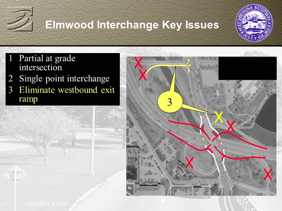 JANUARY 9, 2002 1Partial at grade intersection 2Single point interchange Elmwood Interchange Key Issues 1Partial at grade intersection 2Single point interchange 3Eliminate westbound exit ramp 4 3