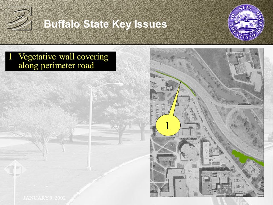JANUARY 9, 2002 Buffalo State Key Issues 1Vegetative wall covering along perimeter road 1
