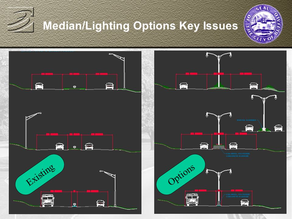 JANUARY 9, 2002 Median/Lighting Options Key Issues OptionsExisting