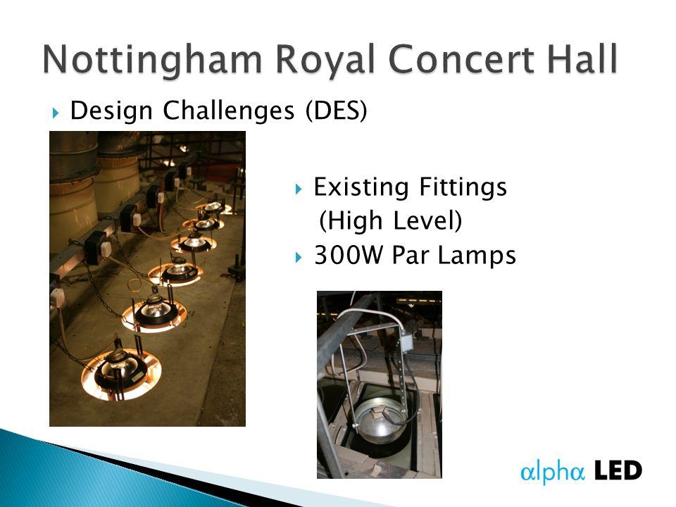  Design Challenges (DES)  Existing Fittings (High Level)  300W Par Lamps