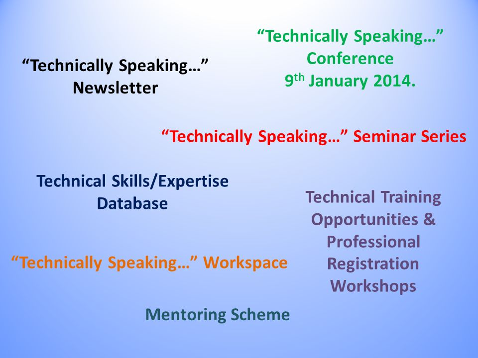 Technically Speaking… Conference 9 th January 2014.
