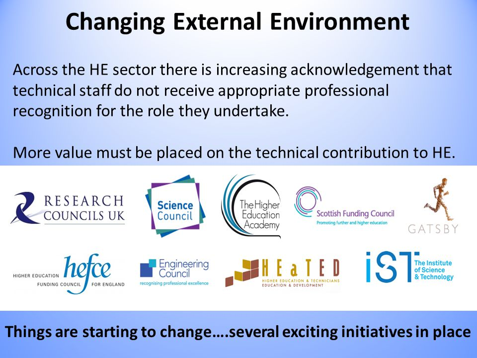 Changing External Environment Across the HE sector there is increasing acknowledgement that technical staff do not receive appropriate professional recognition for the role they undertake.