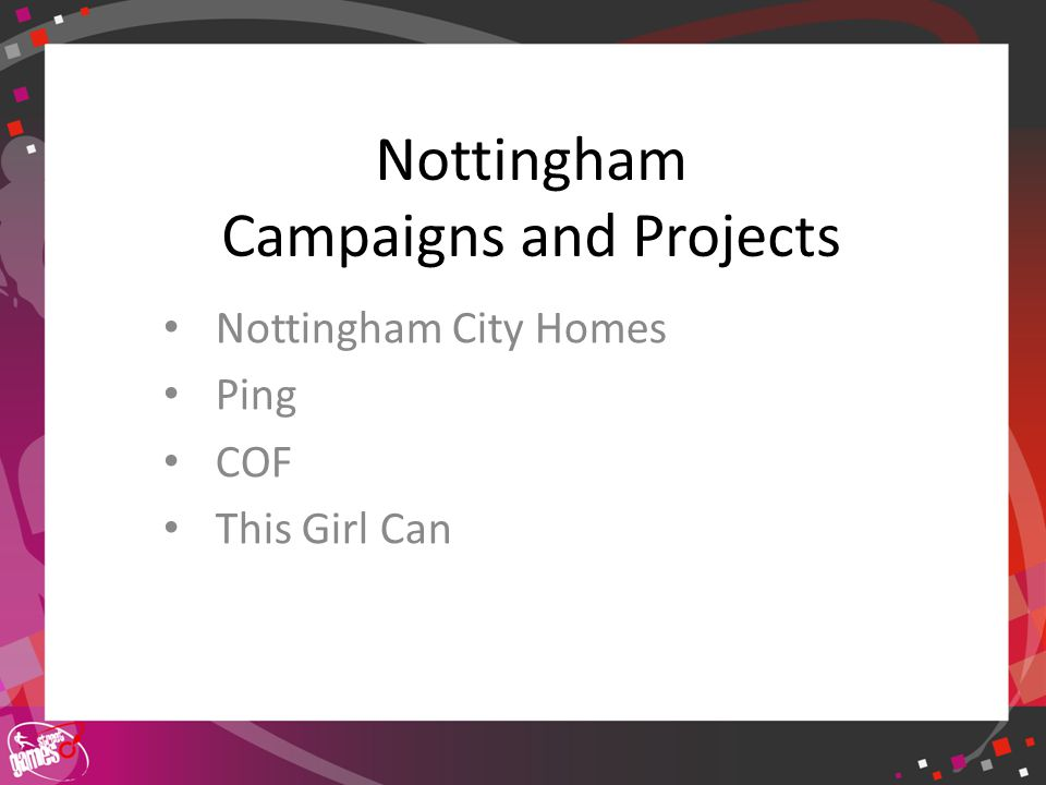 Click to edit Master title style Nottingham Campaigns and Projects Nottingham City Homes Ping COF This Girl Can