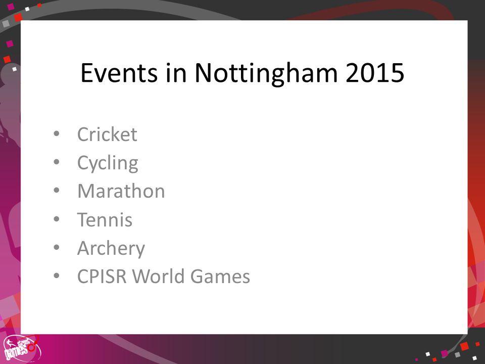 Events in Nottingham 2015 Cricket Cycling Marathon Tennis Archery CPISR World Games