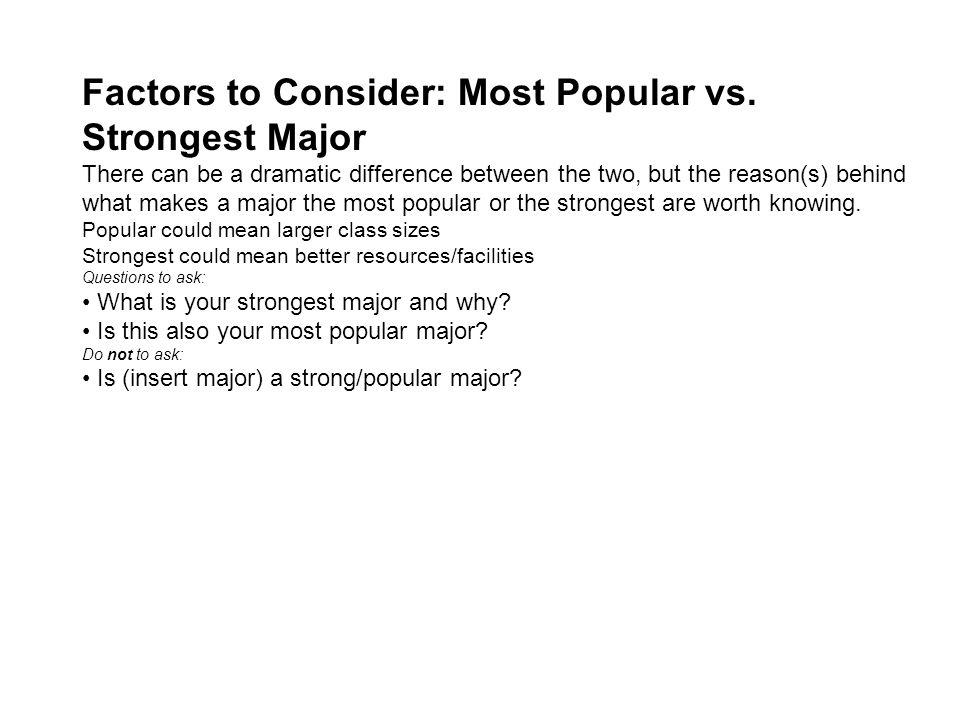 Factors to Consider: Most Popular vs.