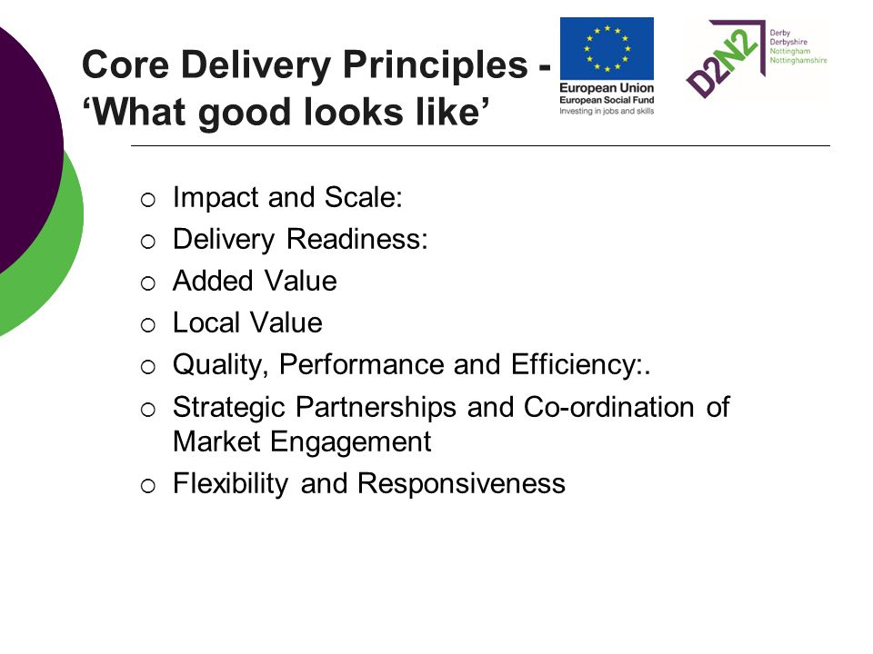 Core Delivery Principles - 'What good looks like'  Impact and Scale:  Delivery Readiness:  Added Value  Local Value  Quality, Performance and Eff