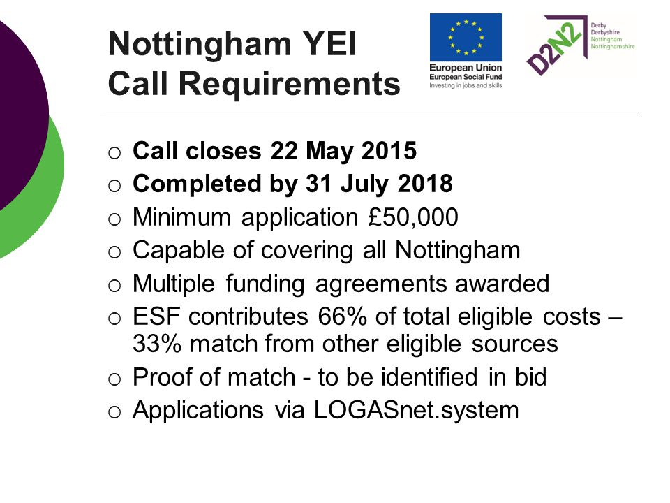 Nottingham YEI Call Requirements  Call closes 22 May 2015  Completed by 31 July 2018  Minimum application £50,000  Capable of covering all Nottingham  Multiple funding agreements awarded  ESF contributes 66% of total eligible costs – 33% match from other eligible sources  Proof of match - to be identified in bid  Applications via LOGASnet.system