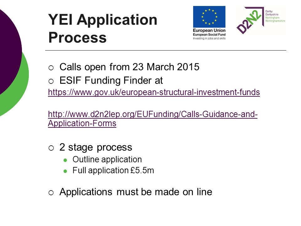 YEI Application Process  Calls open from 23 March 2015  ESIF Funding Finder at https://www.gov.uk/european-structural-investment-funds http://www.d2n2lep.org/EUFunding/Calls-Guidance-and- Application-Forms  2 stage process Outline application Full application £5.5m  Applications must be made on line