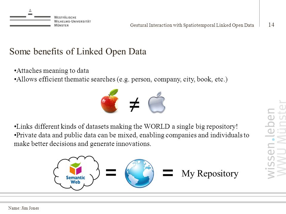 Name: Jim Jones Some benefits of Linked Open Data Gestural Interaction with Spatiotemporal Linked Open Data 14 Attaches meaning to data Allows efficient thematic searches (e.g.