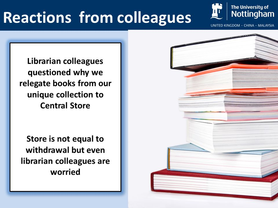 Reactions from colleagues Librarian colleagues questioned why we relegate books from our unique collection to Central Store Store is not equal to withdrawal but even librarian colleagues are worried Librarian colleagues questioned why we relegate books from our unique collection to Central Store Store is not equal to withdrawal but even librarian colleagues are worried