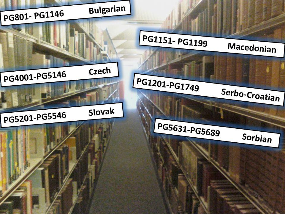 Literature sections to relegate PG801- PG1146Bulgarian PG1151- PG1199Macedonian PG1201-PG1749Serbo-Croatian PG4001-PG5146Czech PG5201-PG5546Slovak PG5631-PG5689Sorbian