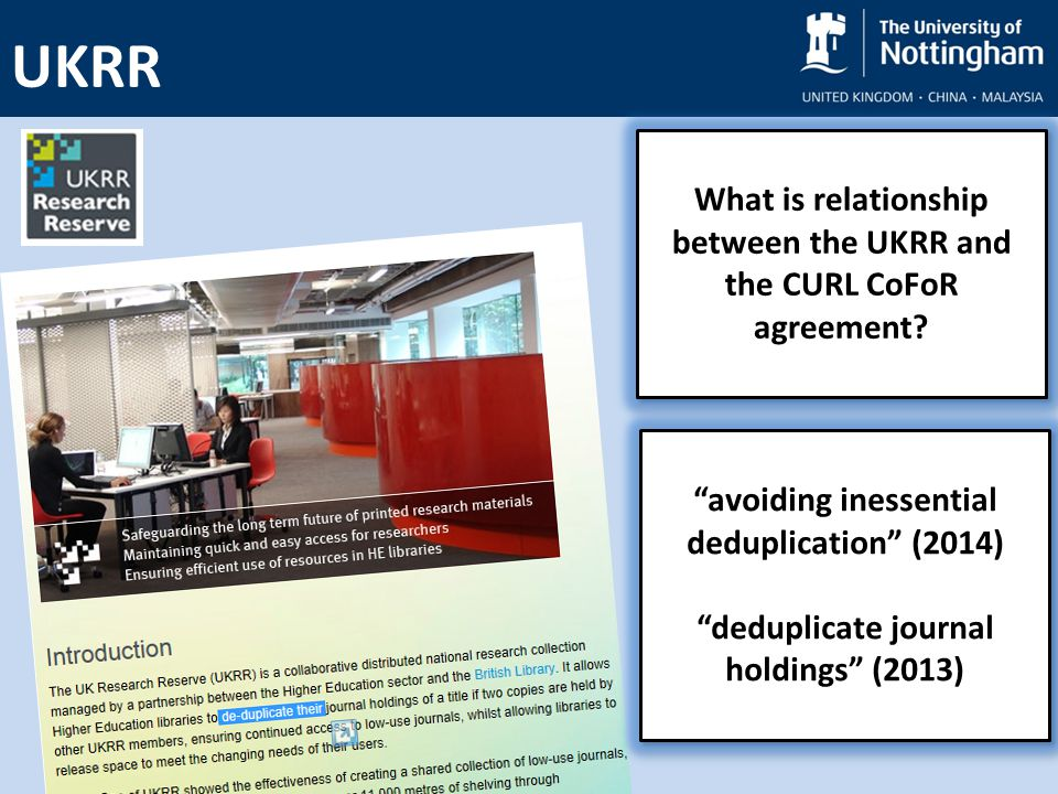 UKRR What is relationship between the UKRR and the CURL CoFoR agreement.