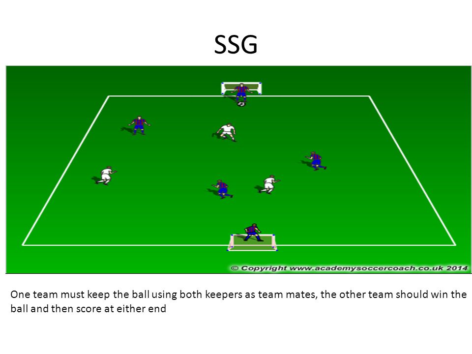 SSG One team must keep the ball using both keepers as team mates, the other team should win the ball and then score at either end
