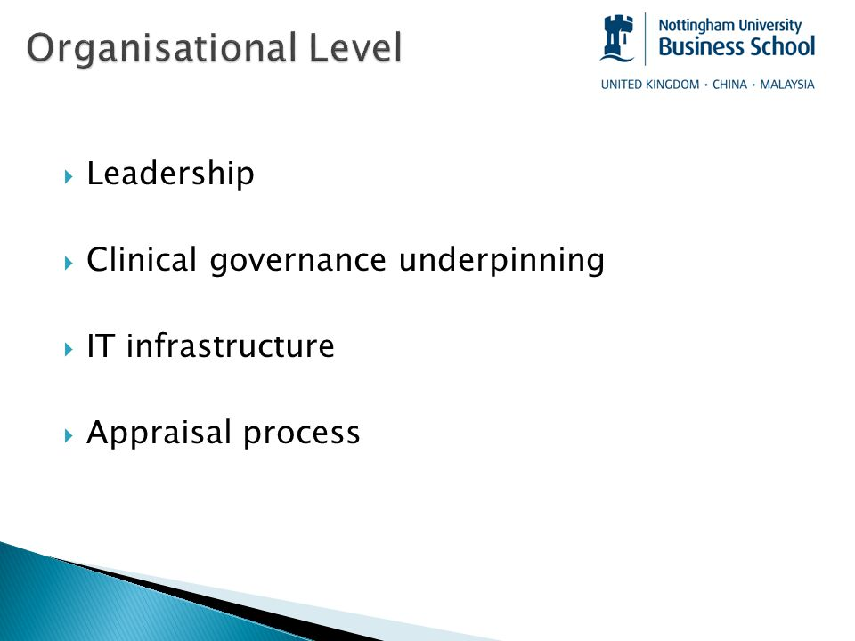  Leadership  Clinical governance underpinning  IT infrastructure  Appraisal process