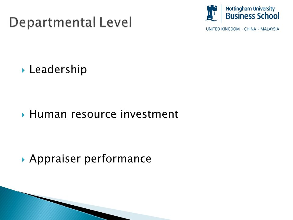 Leadership  Human resource investment  Appraiser performance
