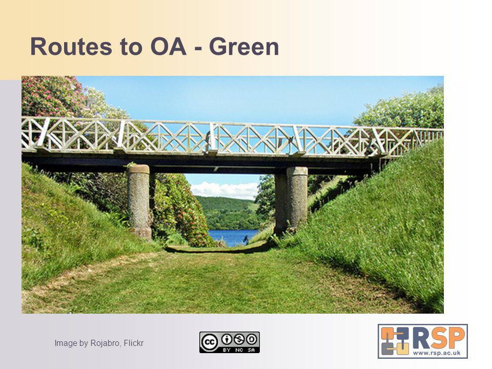 Routes to OA - Green Some text details of that Some more text Another idea More stuff detail 1 detail 2 Image by Rojabro, Flickr