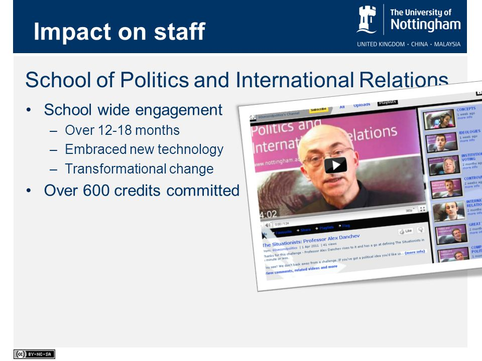 School of Politics and International Relations School wide engagement –Over 12-18 months –Embraced new technology –Transformational change Over 600 credits committed Impact on staff