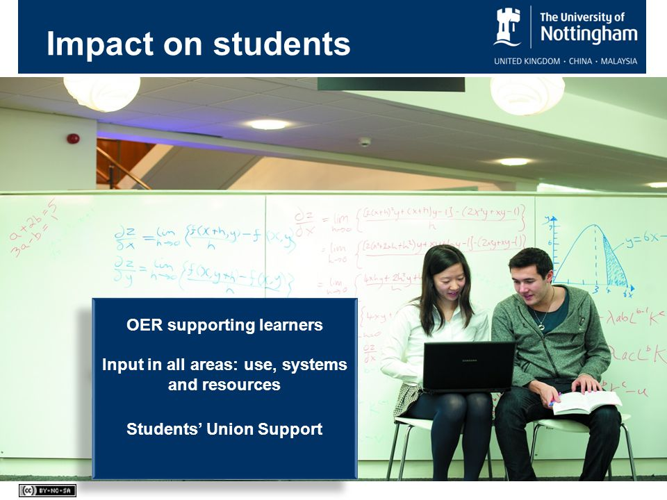 Impact on students OER supporting learners Input in all areas: use, systems and resources Students' Union Support OER supporting learners Input in all areas: use, systems and resources Students' Union Support