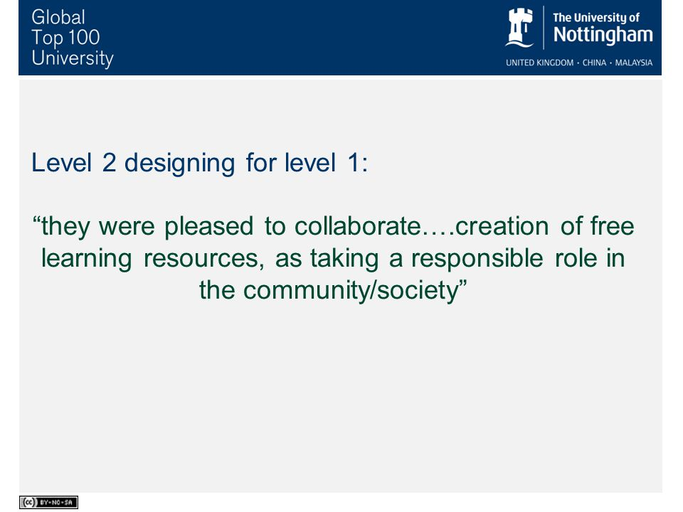 Level 2 designing for level 1: they were pleased to collaborate….creation of free learning resources, as taking a responsible role in the community/society Student Use