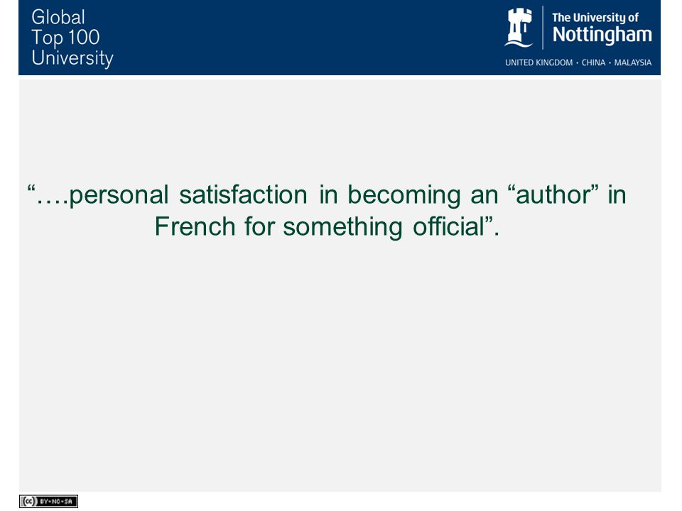 ….personal satisfaction in becoming an author in French for something official .