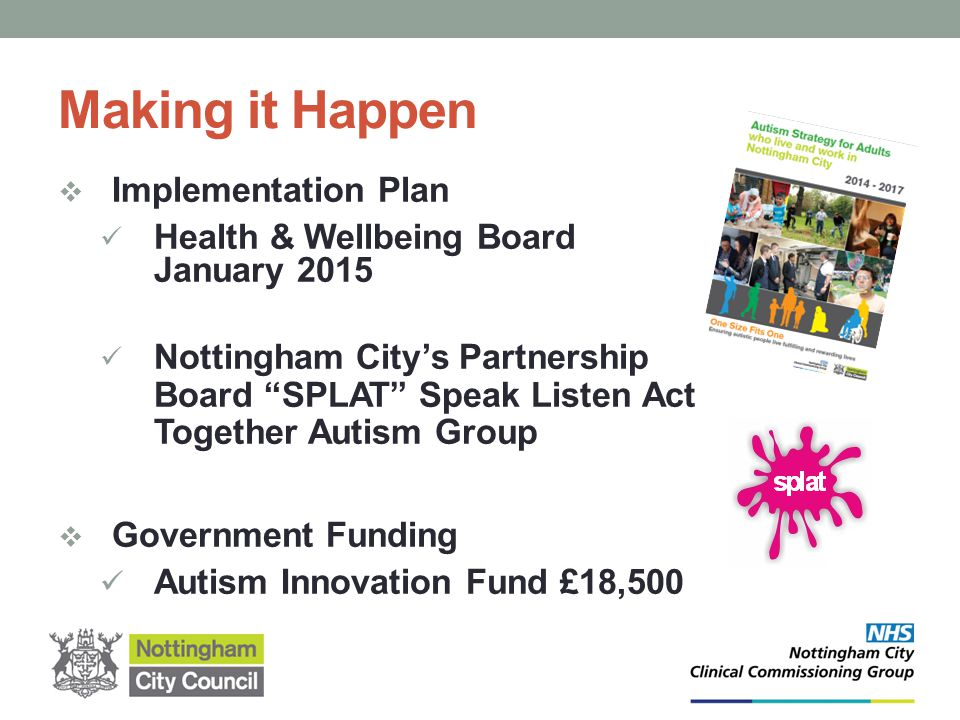 "Making it Happen  Implementation Plan Health & Wellbeing Board January 2015 Nottingham City's Partnership Board ""SPLAT"" Speak Listen Act Together Aut"