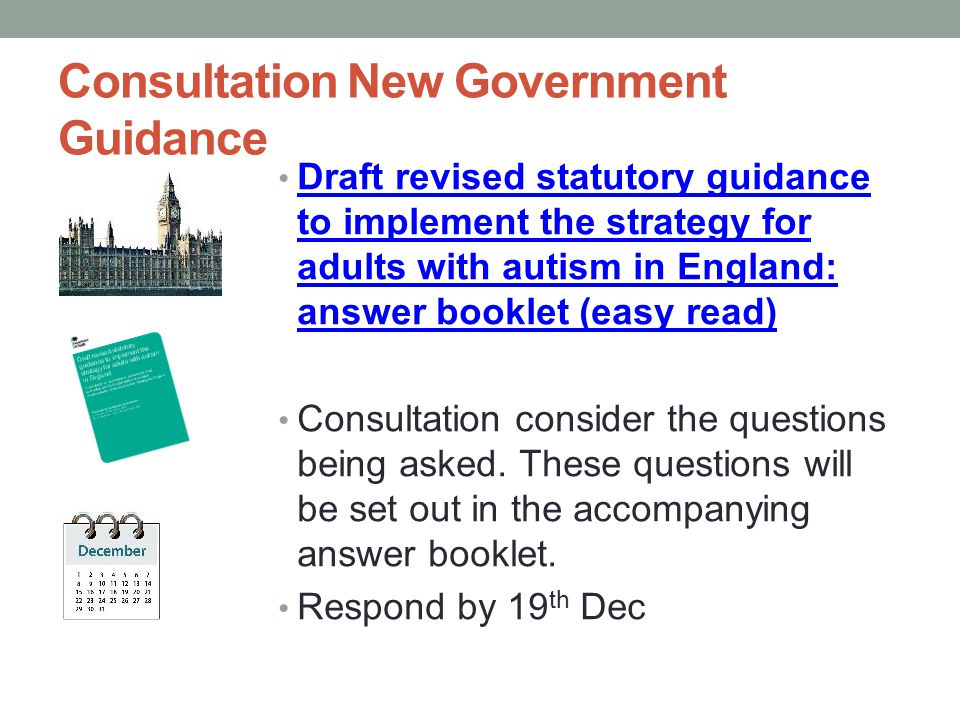 Consultation New Government Guidance Draft revised statutory guidance to implement the strategy for adults with autism in England: answer booklet (eas