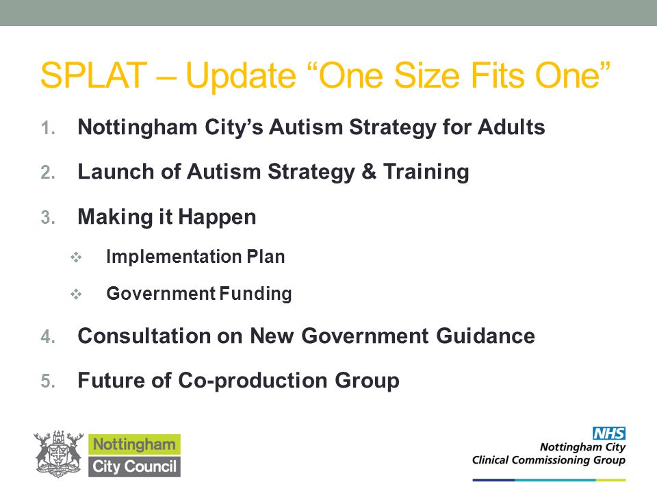Nottingham City's Autism Strategy Autism Co-Production Group Who was Involved.