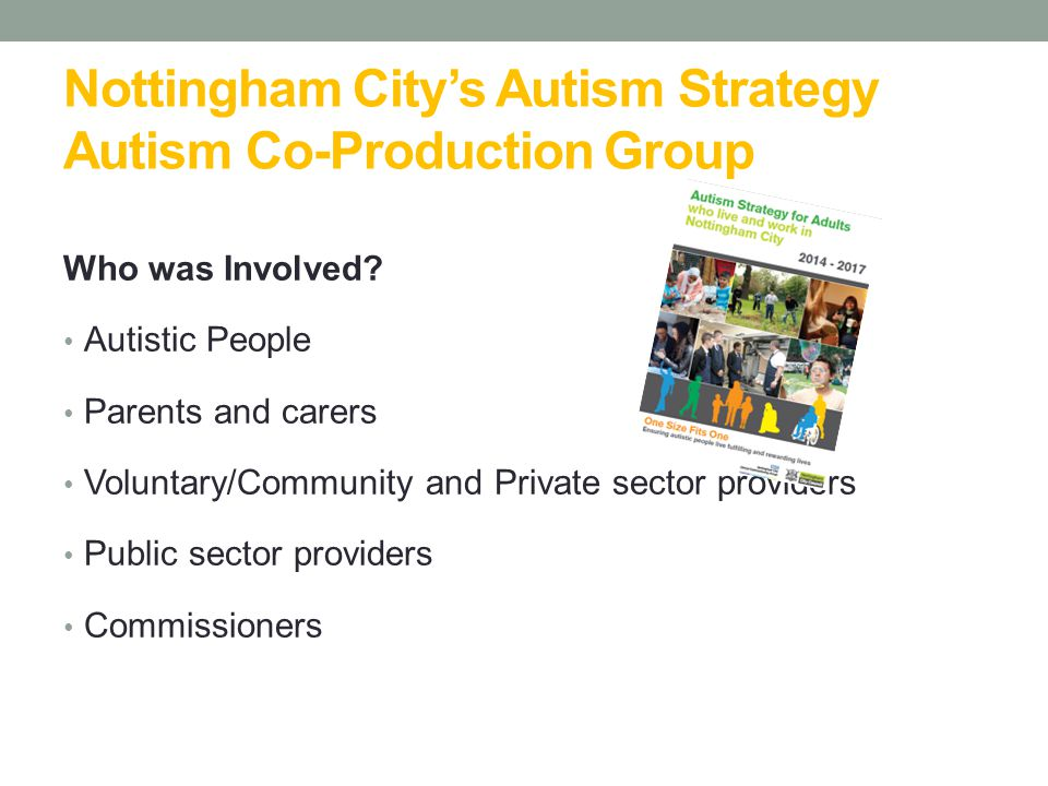 One Size Fits One Nottingham City's Vision What do we want to see?  All autistic people to be acknowledged  Equal opportunities  Live fulfilling and rewarding live  Recognition for citizens with autistic spectrum conditions One Size Fits One .