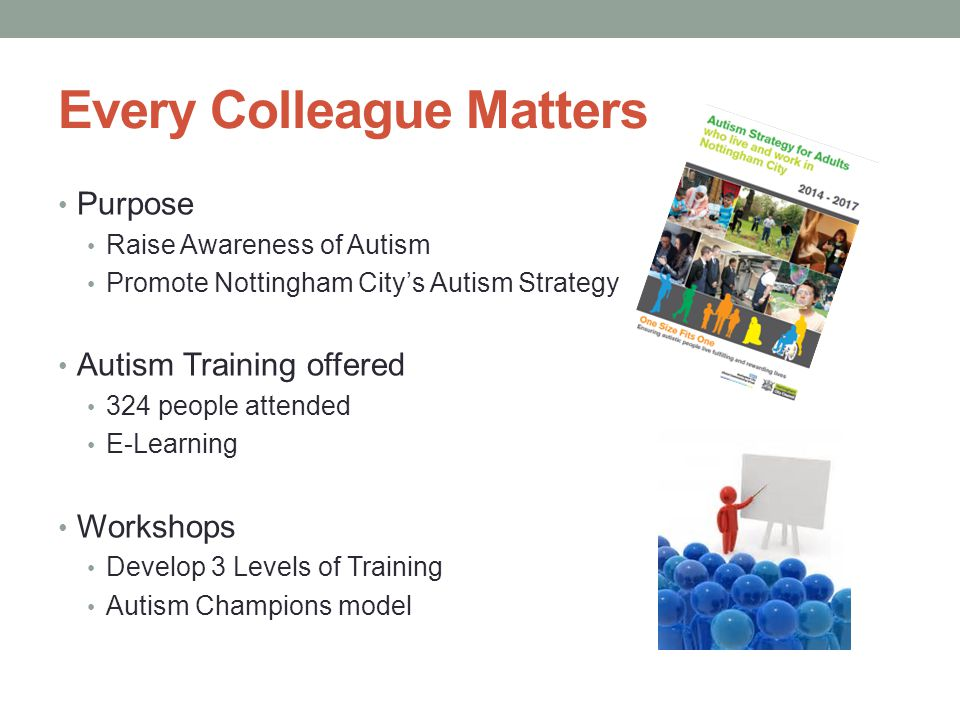 Every Colleague Matters Purpose Raise Awareness of Autism Promote Nottingham City's Autism Strategy Autism Training offered 324 people attended E-Lear