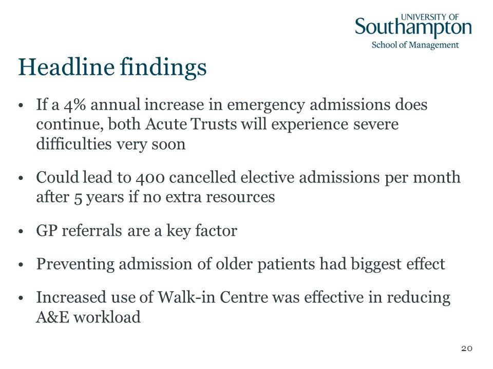 Headline findings If a 4% annual increase in emergency admissions does continue, both Acute Trusts will experience severe difficulties very soon Could