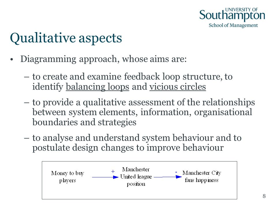 Qualitative aspects Diagramming approach, whose aims are: –to create and examine feedback loop structure, to identify balancing loops and vicious circ