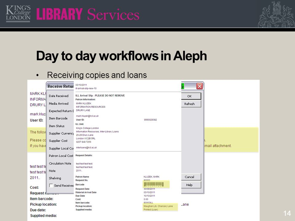 14 Day to day workflows in Aleph Receiving copies and loans