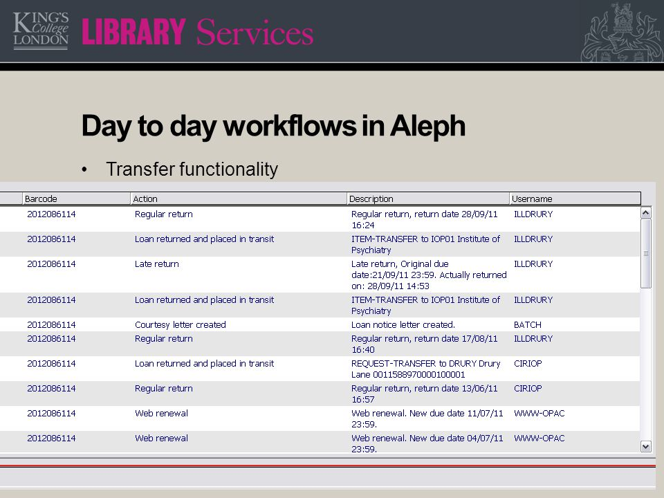 15 Day to day workflows in Aleph Transfer functionality