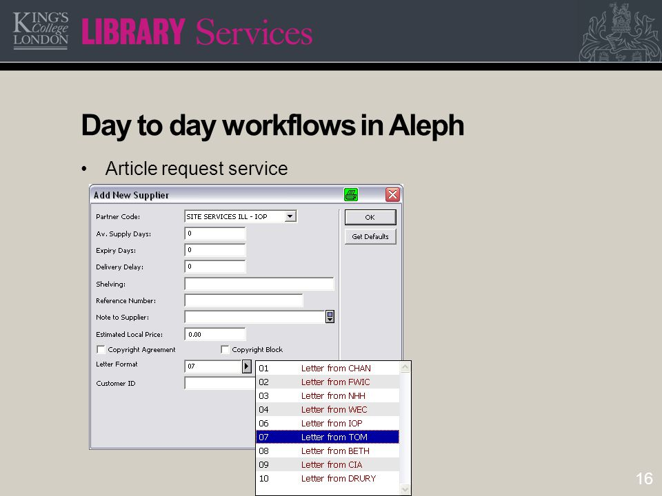 16 Day to day workflows in Aleph Article request service