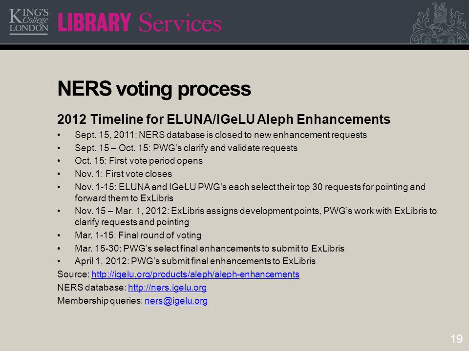19 NERS voting process 2012 Timeline for ELUNA/IGeLU Aleph Enhancements Sept.