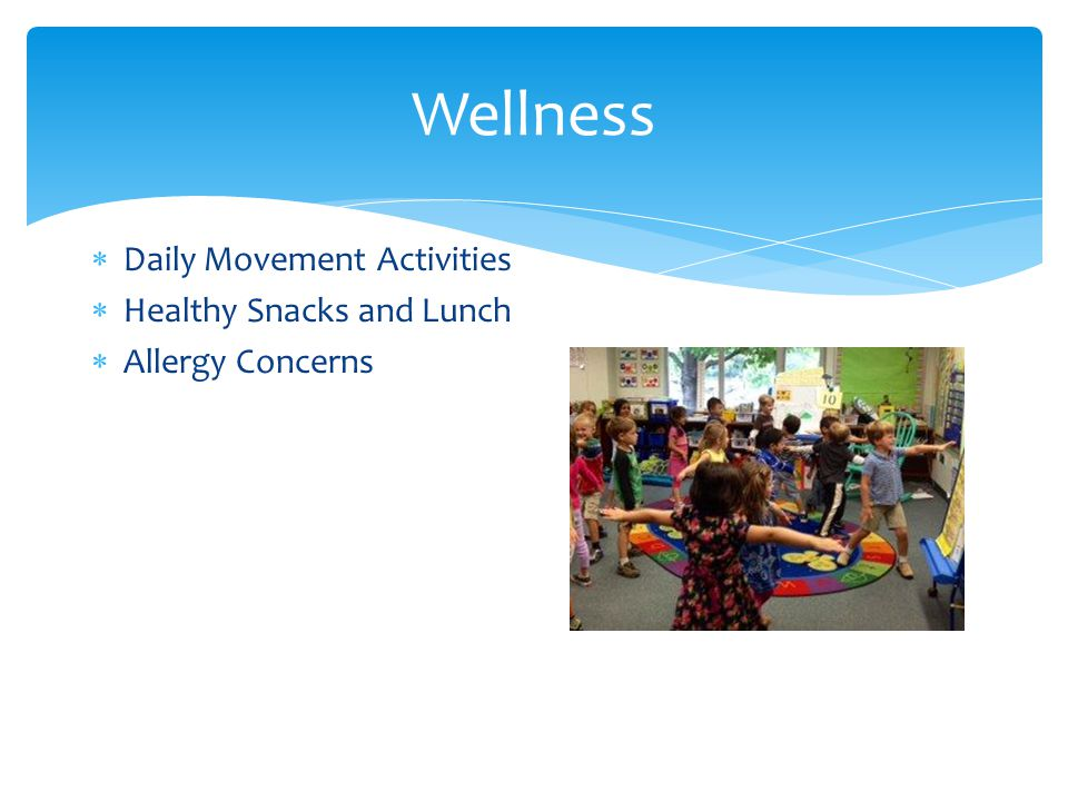  Daily Movement Activities  Healthy Snacks and Lunch  Allergy Concerns Wellness