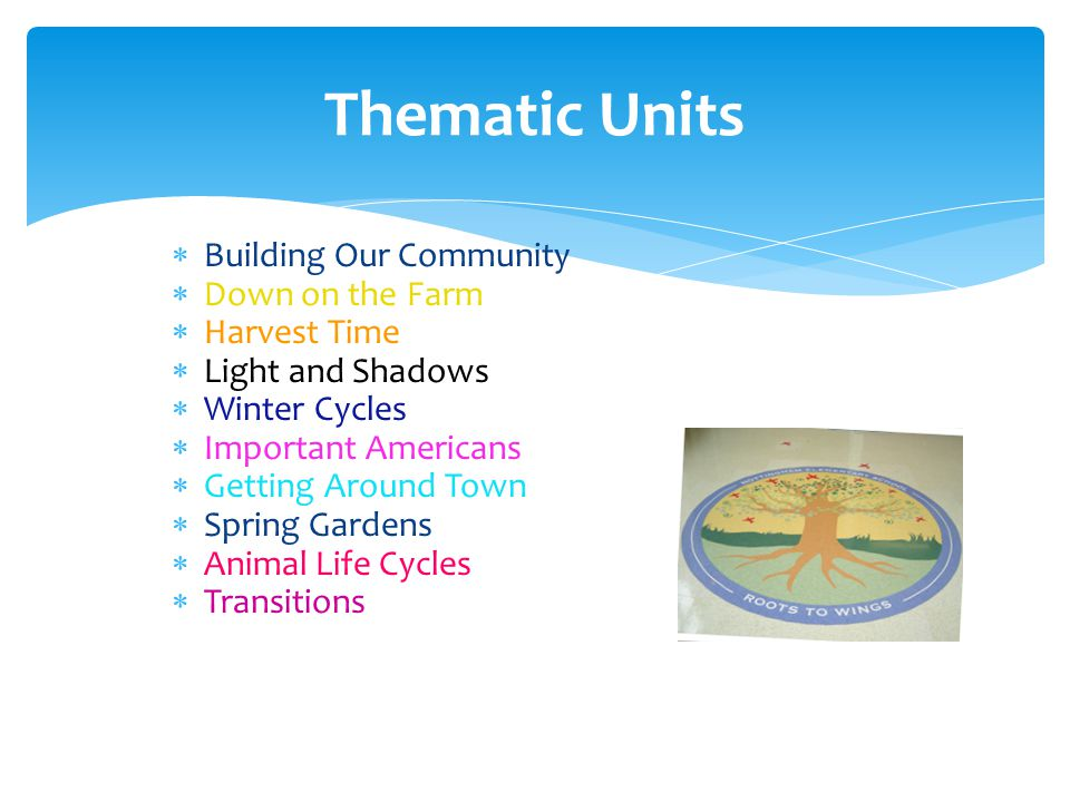  Building Our Community  Down on the Farm  Harvest Time  Light and Shadows  Winter Cycles  Important Americans  Getting Around Town  Spring Gardens  Animal Life Cycles  Transitions Thematic Units