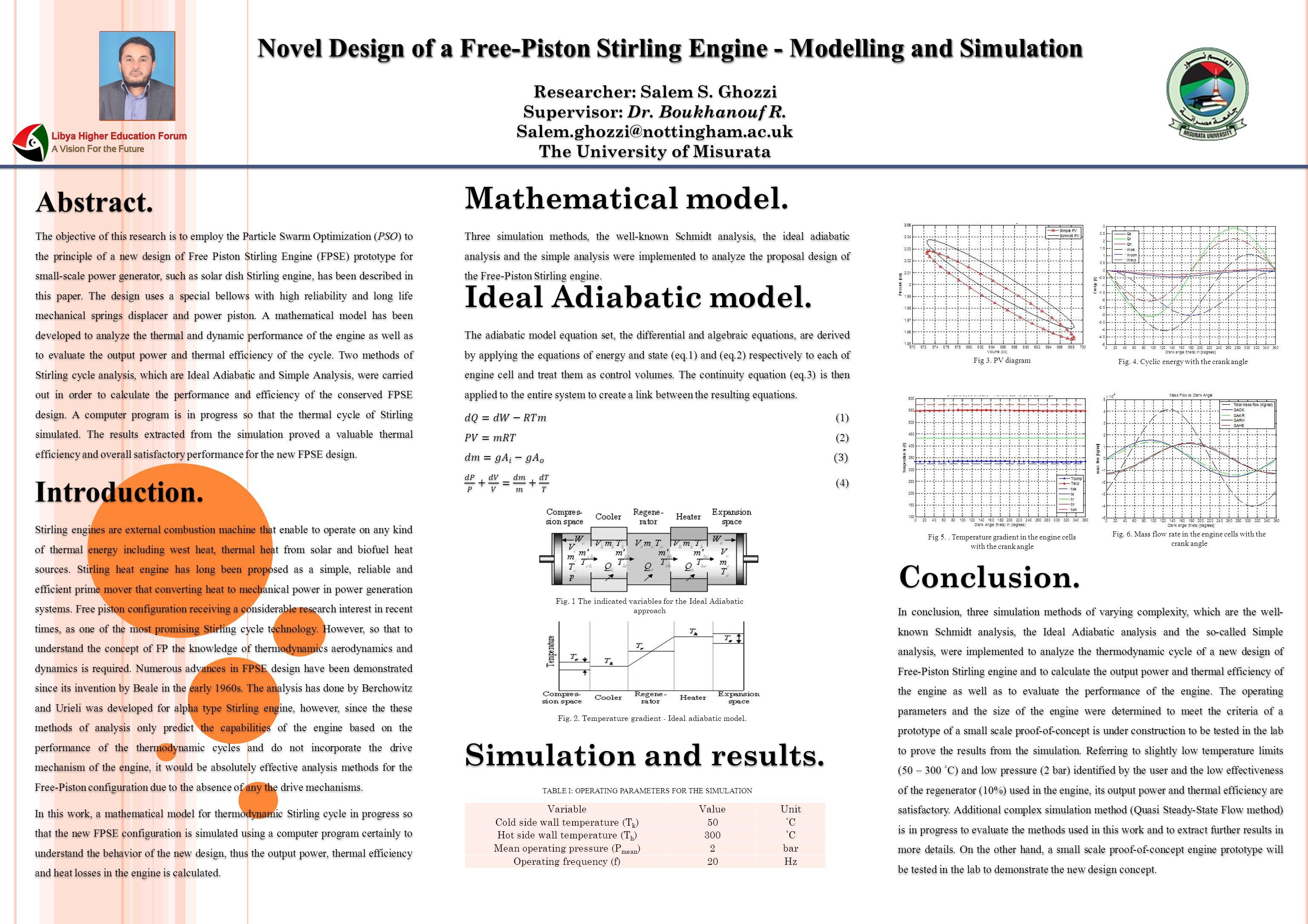 Novel Design of a Free-Piston Stirling Engine - Modelling and Simulation Researcher: Salem S.