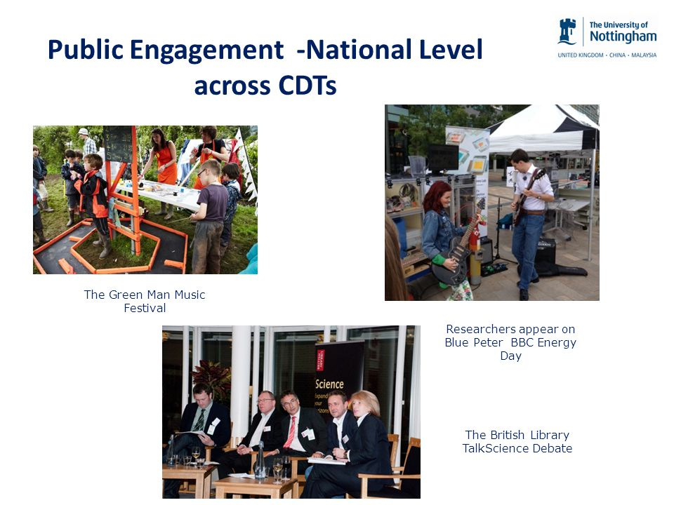 Public Engagement -National Level across CDTs The Green Man Music Festival Researchers appear on Blue Peter BBC Energy Day The British Library TalkScience Debate