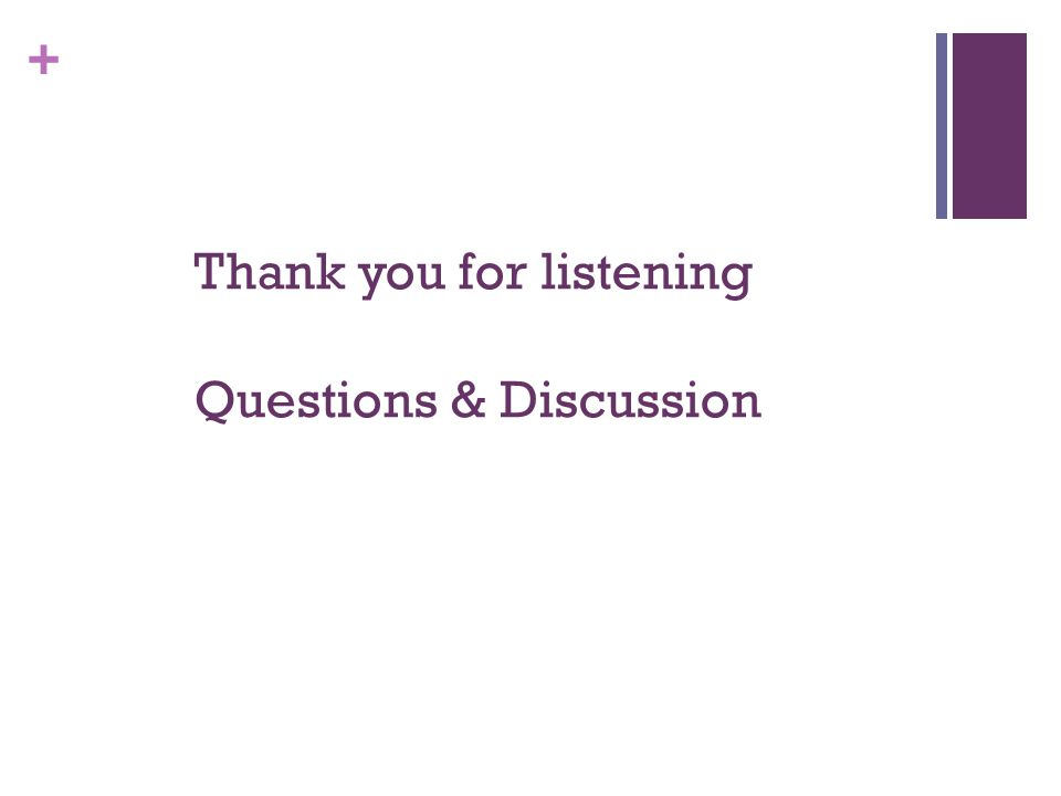 + Thank you for listening Questions & Discussion