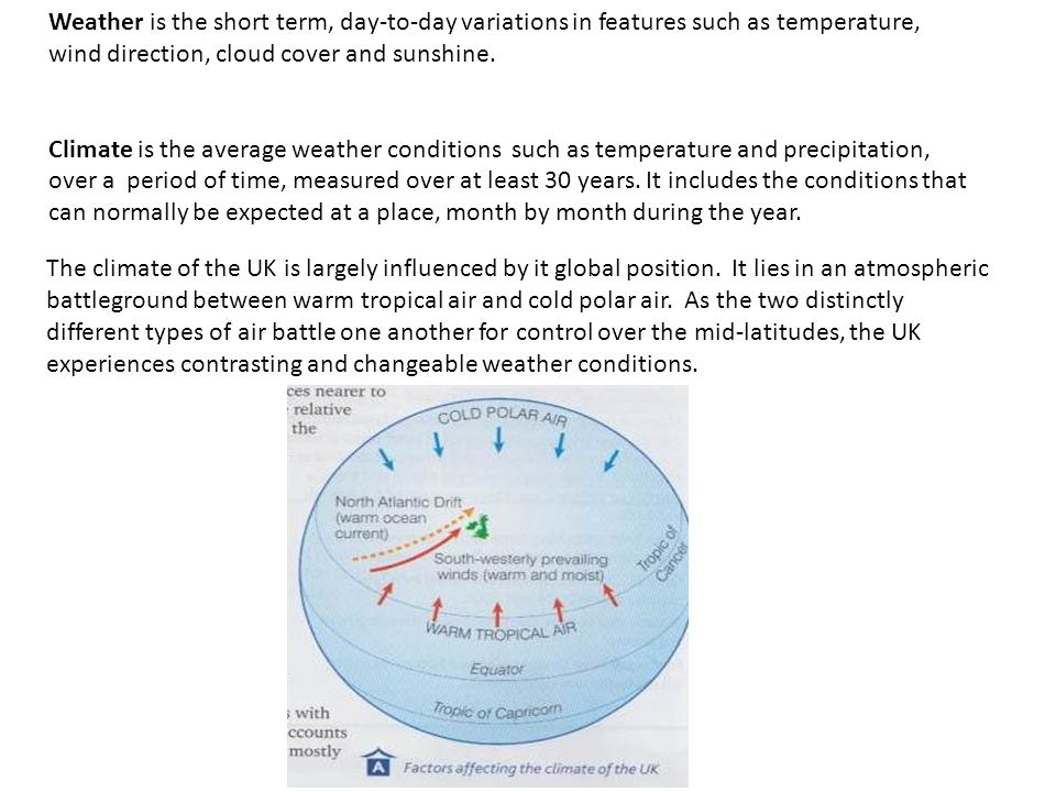 Weather is the short term, day-to-day variations in features such as temperature, wind direction, cloud cover and sunshine. Climate is the average wea