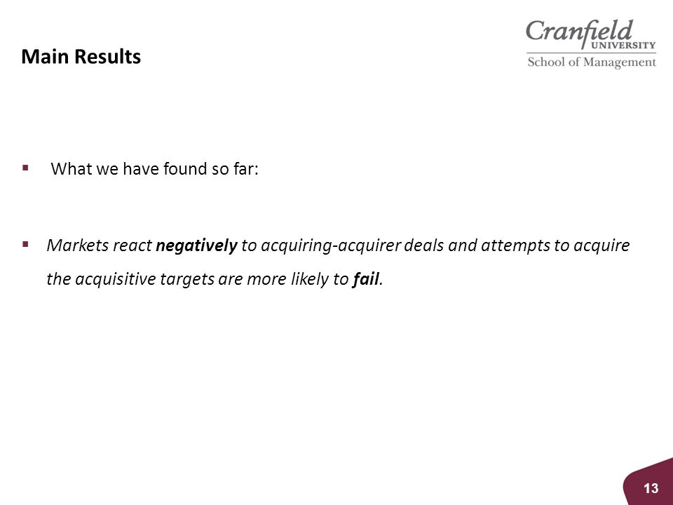 Main Results  What we have found so far:  Markets react negatively to acquiring-acquirer deals and attempts to acquire the acquisitive targets are more likely to fail.