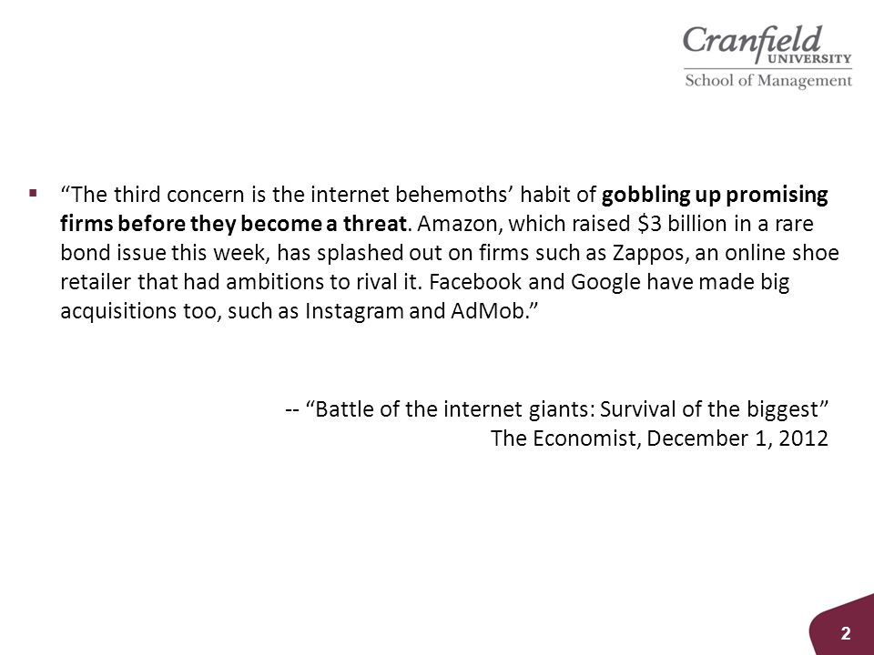 """ """"The third concern is the internet behemoths' habit of gobbling up promising firms before they become a threat. Amazon, which raised $3 billion in a"""