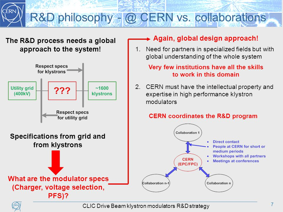 7 R&D philosophy - @ CERN vs. collaborations The R&D process needs a global approach to the system.