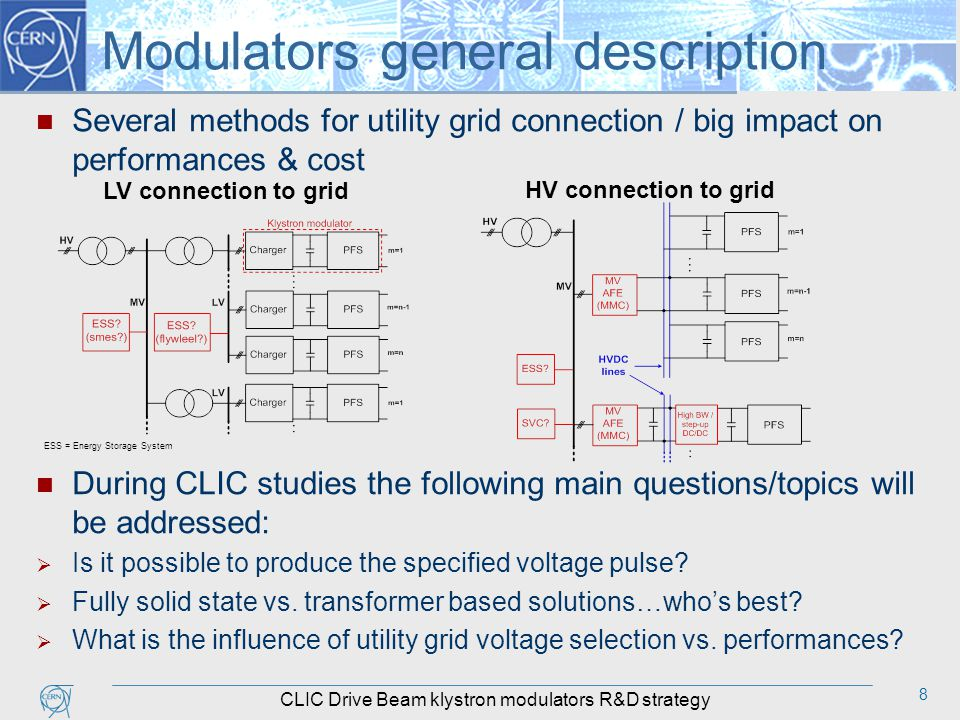 8 Modulators general description Several methods for utility grid connection / big impact on performances & cost During CLIC studies the following main questions/topics will be addressed:  Is it possible to produce the specified voltage pulse.