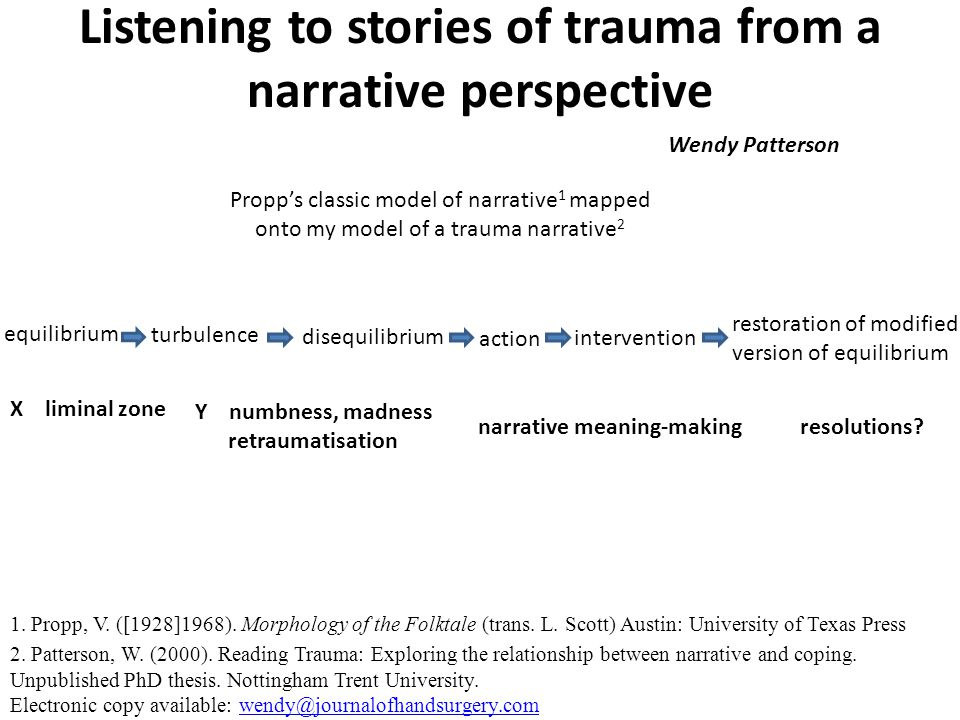 Listening to stories of trauma from a narrative perspective Wendy Patterson Propp's classic model of narrative 1 mapped onto my model of a trauma narrative 2 equilibrium turbulence disequilibrium action intervention restoration of modified version of equilibrium X liminal zone Y numbness, madness retraumatisation resolutions narrative meaning-making 1.
