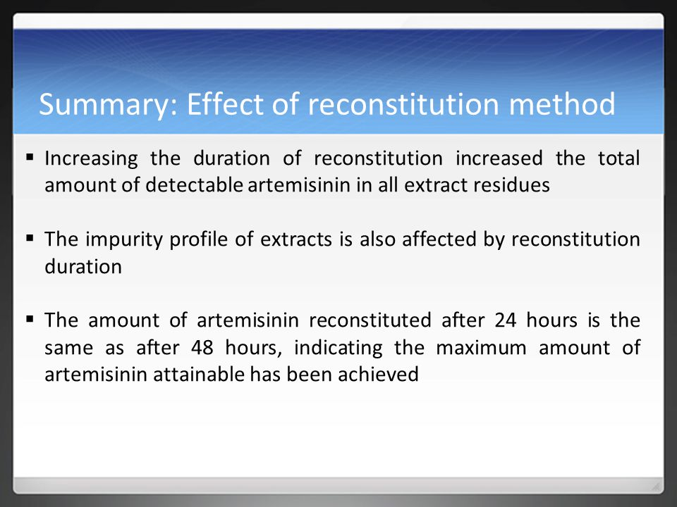 Summary: Effect of reconstitution method  Increasing the duration of reconstitution increased the total amount of detectable artemisinin in all extract residues  The impurity profile of extracts is also affected by reconstitution duration  The amount of artemisinin reconstituted after 24 hours is the same as after 48 hours, indicating the maximum amount of artemisinin attainable has been achieved