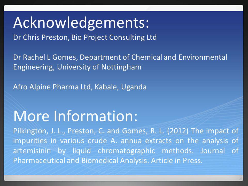 Acknowledgements: Dr Chris Preston, Bio Project Consulting Ltd Dr Rachel L Gomes, Department of Chemical and Environmental Engineering, University of Nottingham Afro Alpine Pharma Ltd, Kabale, Uganda More Information: Pilkington, J.